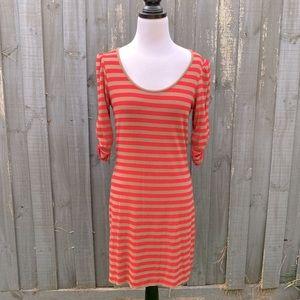 Witchery stripes half sleeve knit slip dress S